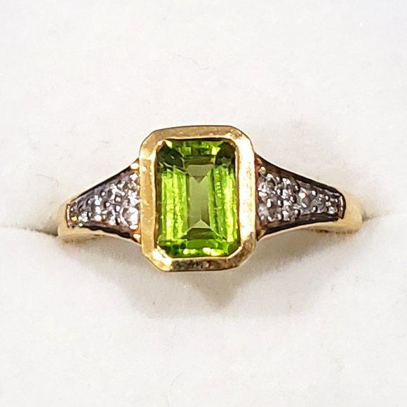 SOLD!  Peridot & Zircon ring in 14K YG over 925SS